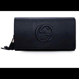 Gucci Soho Leather clutch bag (black)